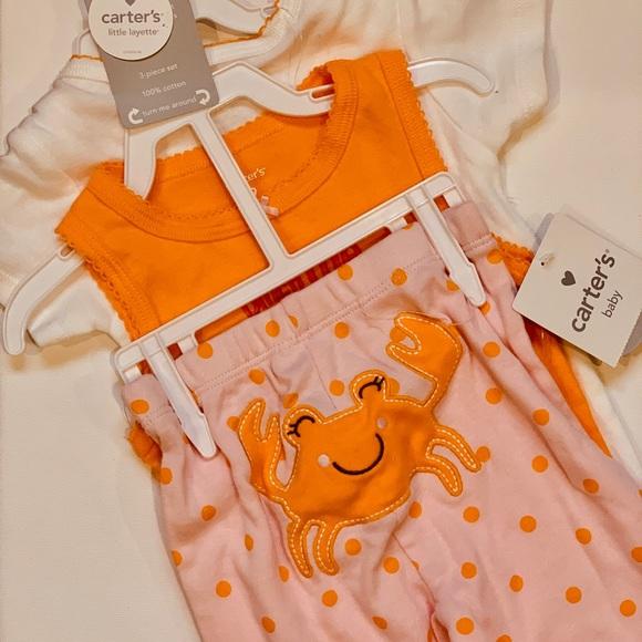 Carters 9 Months 3-Piece Bodysuit Pants Set Baby Girl Clothes Crab Summer Orange
